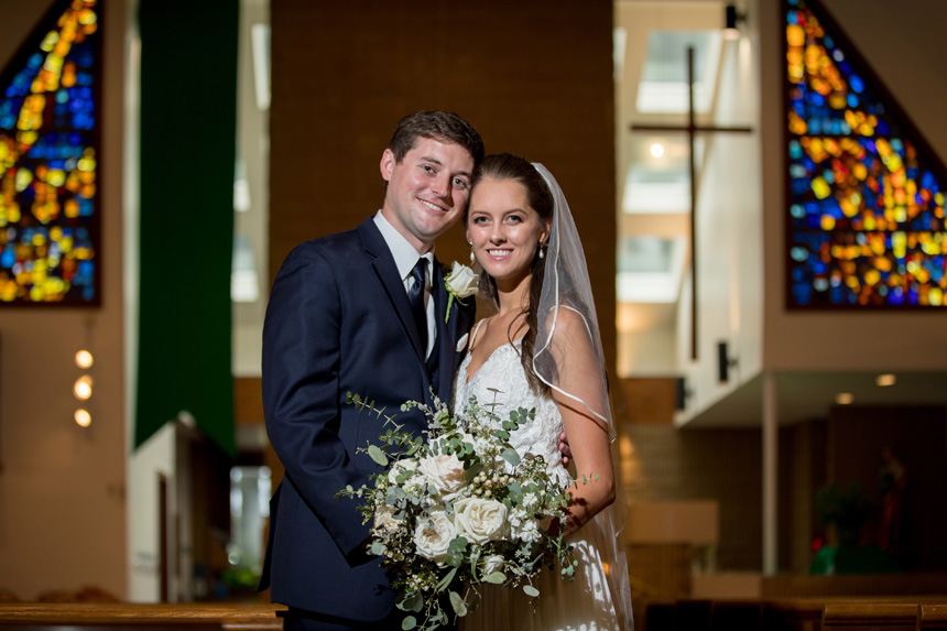 Josh and Lauren Beil were married Sept. 15 at  Holy Infant Church in Durham after Hurricane Florence altered their plans for a coastal wedding.