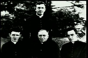 Father Thomas Frederick Price, lower center, with Fathers Bernard F. Myer, Francis X. Ford, and James E. Walsh, the first three Maryknoll missioners to China.
