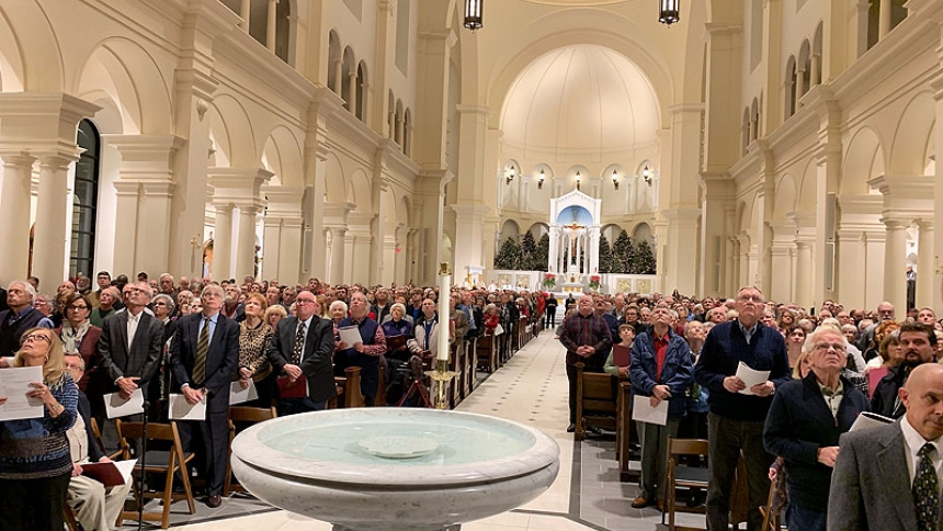 Thousands look up at the Fisk Opus 147 during its blessing Jan. 3, 2019