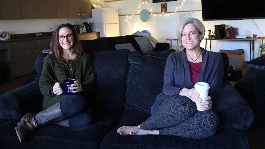 Janine McGann (left) and Liz Sams are mothers and youth ministers in the Raleigh area.