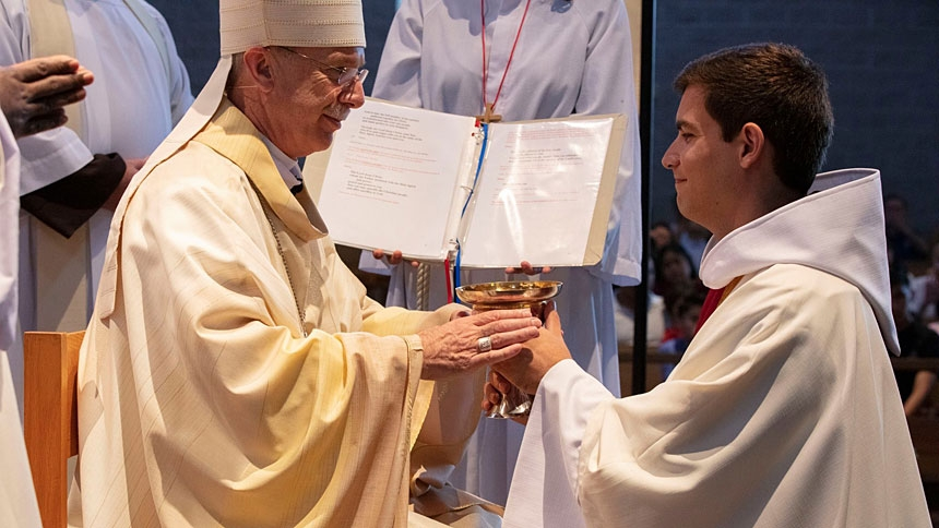 Father Casey Cole was ordained to the Franciscan Order June 22 at Immaculate Conception Catholic Church in Durham.