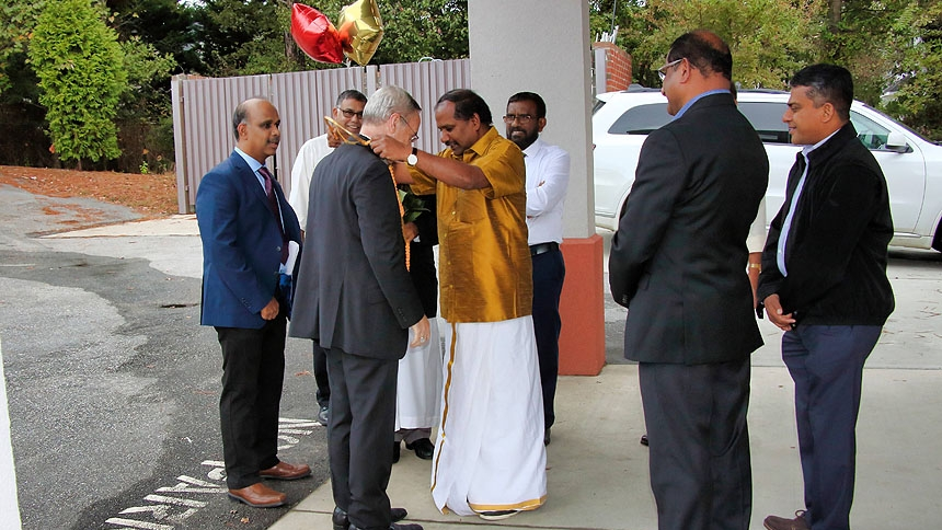 Bishop Zarama celebrates Mass with Triangle Tamil Community