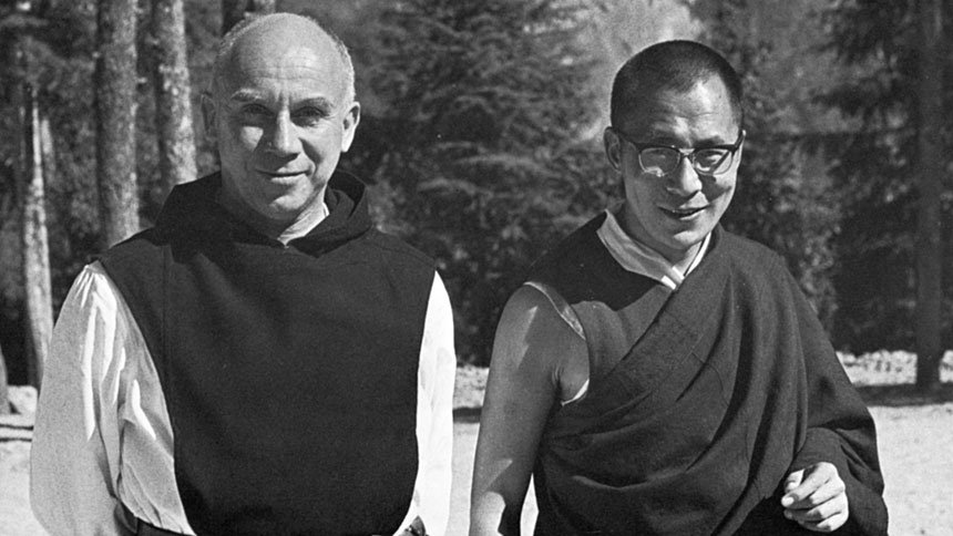 Trappist Father Thomas Merton is pictured with the Dalai Lama in 1968. More than years after his death, Father Merton, the influential Trappist monk who lived and wrote from the Abbey of Gethsemani near Bardstown, Ky., is still helping to draw others nearer to Christ through his writings and the communities they tend to create, said Cistercian Father Lawrence Morey. (CNS photo/Thomas Merton Center at Bellarmine University)
