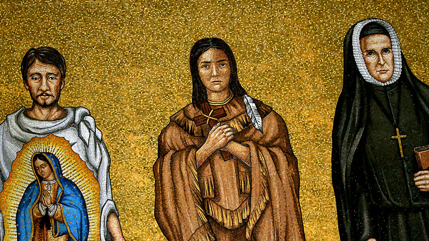 Mosaic tiles depicting St. Juan Diego and St. Kateri Tekakwitha are seen in the Trinity Dome at the Basilica of the National Shrine of the Immaculate Conception in Washington. (CNS photo/Tyler Orsburn)